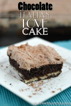 A unique chocolate cake recipe that is sure to spread the love all around! This Chocolate Italian Love Cake recipe is definitely a keeper. Make it for the chocolate lover in your life! Italian Desserts, Just Desserts, Delicious Desserts, Italian Recipes, Chocolate Cake Mixes, Chocolate Desserts, Chocolate Chocolate, Chocolate Pudding, Homemade Chocolate