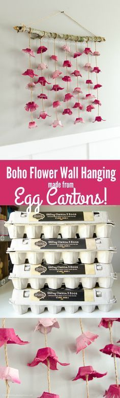 DIY Boho Flower Wall hanging made with old egg cartons. Great way to reuse empty egg cartons! Neat craft idea.