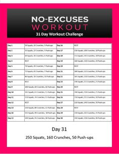 31 day challenge... Tight butts, abs and arms anyone??