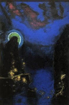 Vierge Nimbee 1898 ~ Odilion Redon (Van Gogh Museum, Amsterdam).  A vague form with a halo stands on a boat with golden cables against a phosphorescent blue background.