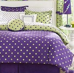 Purple and green room on pinterest ruffle bedding - Green and purple comforter ...