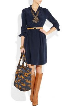 Great Outfit! J.Crew Dress and boots, Marc by Marc Jacobs bag