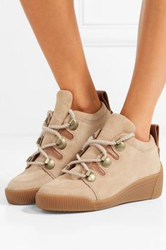 the best attitude 386d6 0013e See By Chloé - Leather-trimmed nubuck wedge sneakers