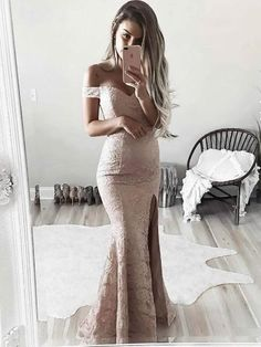 Off the Shoulder Mermaid Lace Prom Dresses with Split APD3047