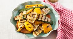 Grilled summer vegetables, marinated with Grill Mates® Zesty Herb Marinade, is a perfect accompaniment to any grilled meat or seafood.  Photo credit: Julie Deily from The Little Kitchen.