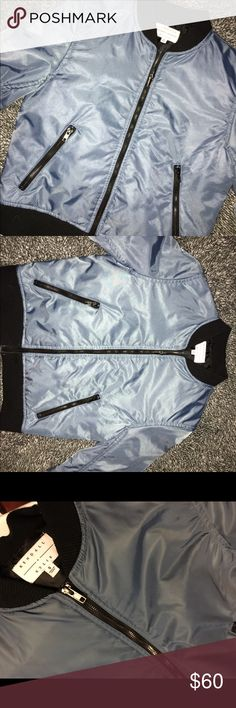 Rare Kendall & Kylie Bomber Jacket Blue Kendall & Kylie bomber jacket size small! Perfect condition, only ever worn once or twice over something :) The blue color changes a bit with the lighting due to the material! Rare to find anywhere! Prefer to sell but AM OPEN TO TRADES FOR OTHER JACKETS OR HOODIES if i see an item i love! ✨ Small mark wouldnt even show up in a normal picture or with flash, you have to really look to notice it! Especially from afar Kendall & Kylie Jackets & Coats