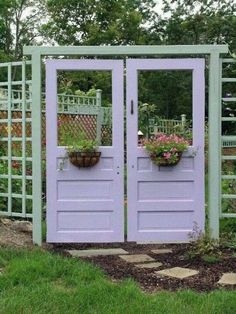 Garden doors, with hanging baskets, love this