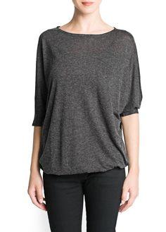 Dolman sleeve flecked t-shirt