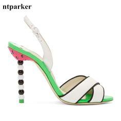 52.50$  Buy here - http://aliokc.shopchina.info/go.php?t=32780782290 - Summer Fashion High Heels Shoes Women Watermelon Print Sandals Back Strap Dress Zapatos Mujer Euro Design Bead Heels Chaussure  #buyininternet