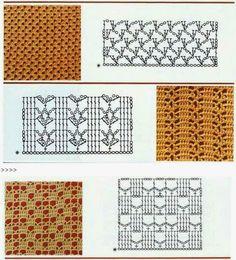 16 Patrones de puntos crochet | Crochet y dos agujas