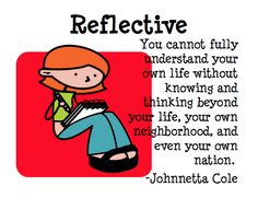 Reflection = not standing still, thinking beyond your boundaries, looking back, looking forward...