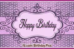 Purple Dotted Black Happy Birthday Card