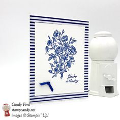 Stampin' Up! Very Vintage Blessings card in Blueberry Bushel by Candy Ford of Stamp Candy Vintage Stamps, Vintage Cards, Stampin Up Catalog, Elements Of Style, Stamping Up Cards, Card Maker, Sympathy Cards, Flower Cards, Cardmaking