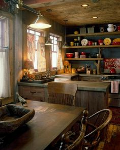 I love this old wood farm kitchen look