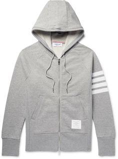 372df7cda7a4 Thom Browne Striped Loopback Cotton-Jersey Zip-Up Hoodie Thom Browne, Grey  Hoodie