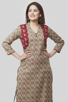 Wrap your soul in Indian Ikkat prints which give you your best look.Gray Ikkat printed Kurti with contrasting Maroon Ikkat jacket style reminds us of the woman of today.the Ikkat pattern signifying the brightness she gets into every one's life. Salwar Neck Designs, Kurta Neck Design, Kurta Designs Women, Dress Neck Designs, Designs For Dresses, Printed Kurti Designs, Simple Kurti Designs, Kurtha Designs, Kurta Patterns