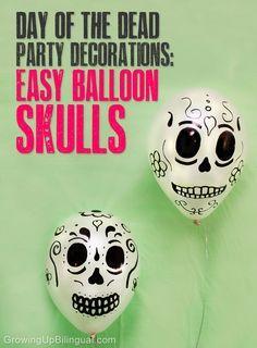 Dia de los muertos DIY party decorations easy skull balloons