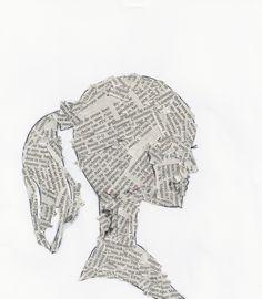 EEN SILHOUET Met krantenknipsels een silhouet gevuld.