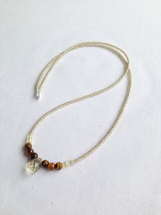 Seed bead necklace with tiger's eye and smokey quartz