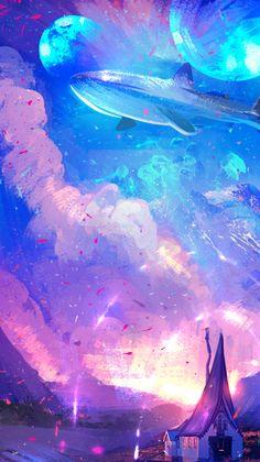 ✧・゚: *✧・゚:* — random anime landscape lockscreens please like or. Paper Background Design, Pastel Background, Aesthetic Art, Aesthetic Pictures, Aesthetic Anime, Pastel Landscape, Fantasy Landscape, Sky Anime, Cute Patterns Wallpaper