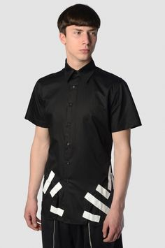 CHRISTOPHER SHANNON Black Taped Short-Sleeve Shirt