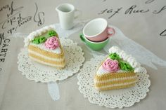 Sponge Cake (1 pc) with cream - Knitted Play Food - fun kid toy, cooking, kitchen decor, pincushion. $8.00, via Etsy.