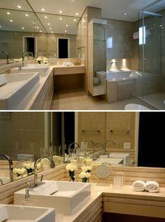 Blog de decoração e arquitetura com vários projetos modernos e atuais de banheiros de casal.