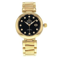 Omega DeVille Ladymatic Black Diamond Dial 18kt Yellow Gold Ladies Watch 425.60.34.20.51.002 * To view further for this item, visit the image link.