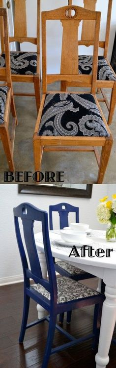 DIY : Step by Step how to Reupholster Dining Chairs.   Bought them at a yard sale for 20$!