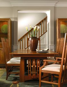 This beautiful Stickley Highlands dining room is inspired by the work of Scottish  architect and designer Charles Rennie Mackintosh who was active in the early 1900's.