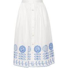 Temperley London Gilda embroidered cotton-poplin skirt ($705) ❤ liked on Polyvore featuring skirts, white, mid-calf skirt, floral print skirt, white skirt, high waisted floral skirt and floral print midi skirt