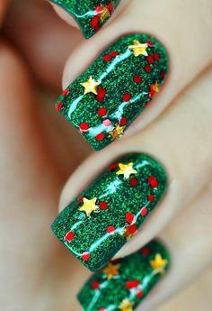 Beautiful bright nails, brilliant nails, Nails with stars, New Year nails 2018, New year nails ideas 2018, Party nails, Vivid nails, Winter nail art