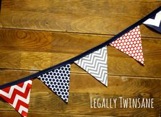Fabric Bunting banner navy blue grey red by LegallyTwinsane, $13.00