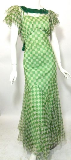 Amazing 30s! gown of soft mesh done in a checkerboard design in kelly green and white.