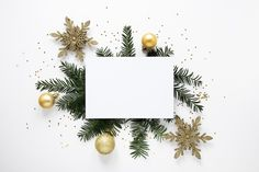 Pine branches and decorations mock-up Free Photo Christmas Card Template, Christmas Card Crafts, Christmas Greeting Cards, Christmas Photos, Christmas Greetings, Christmas Themes, Christmas Decorations, Christmas Background Images, Christmas Wallpaper