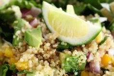 Quinoa Salad with Pears, Baby Spinach and Chick Peas in a Maple Vinaigrette |Gluten-Free Goddess® Recipes