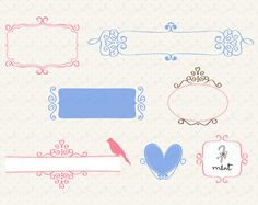 Frames 011 Clipart - Digital Clip art for scrapbooking, card, invitation, stationery - BUY 1 GET 1 FREE