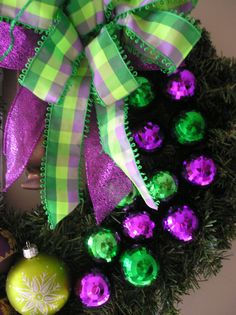 Apple Green Lime Green and Purple Christmas by EightTreeStreet