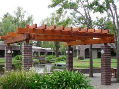Pergola Decorating Ideas | Awesome Teak Pergola Design Ideas With Bricks Pillars And Stone Floor ...