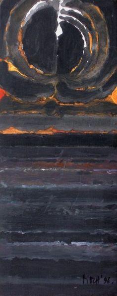 Syed Haiden RAZA (1922) «Bindu and the earth», 1996. Acrylique sur deux toiles raccordées. Signé et daté «96» en bas à droite; Contresigné, titré et daté au verso. 54 x 22 cm - Blanchet & Associés - 22/04/2016