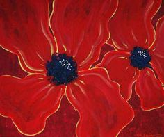 Big Poppies - Abstract Modern Art Painting Contemporary Flowers Floral Poppy Original Red Poppies