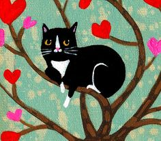 ORIGINAL painting TUXEDO cat VALENTINE heart tree by tascha