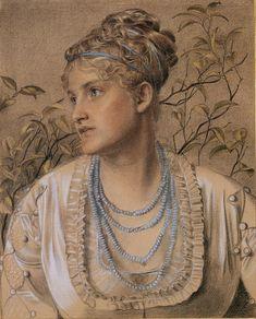 Anthony Frederick Sandys Portrait of Mrs. Sandys 1871-1873