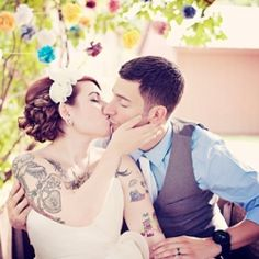 love the tatts. love the pose. love the action in the trees. just loves. Brides With Tattoos, Different Tattoos, Body Mods, Love, Tatting, Cool Hairstyles, Wedding Day, Wedding Inspiration, Photoshoot