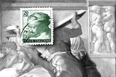 The letters arrived from Italy that when I was a child, had postage stamps, that then I did not think of that they were. SYBILA LYBICA by Michelangelo