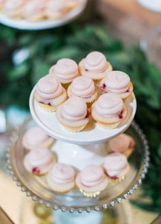Super cute mini cupcakes on a chic cake stand.