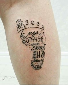 Cute tattoo with baby info