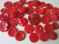 Vintage Buttons  Cottage chic mix of red old and by pillowtalkswf, $8.95