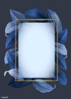Golden frame on a blue leafy background İOS Wallpaper