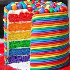 now this is a rainbow cake! now this is a rainbow cake! now this is a rainbow cake! Beautiful Cakes, Amazing Cakes, Bolos Cake Boss, Cake Cookies, Cupcake Cakes, Candy Cakes, Sweets Cake, Cupcakes Decorados, Rainbow Food